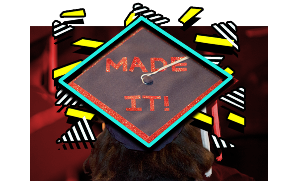 girl wearing a graduation cap with the words made it on it